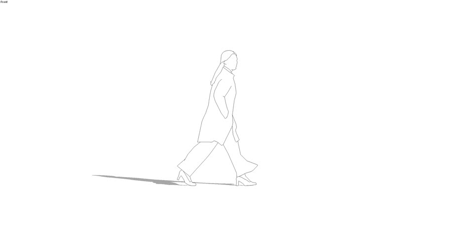 2d woman walking, long stride