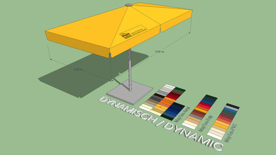 May Schattello 2x4m Rectangle Center Post Market Umbrella