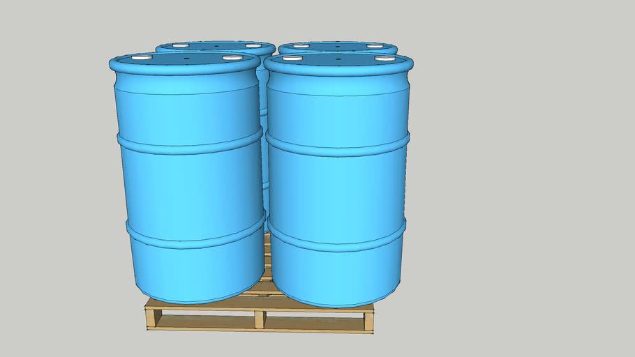 Uline 55 Gallon Plastic Drum Cyan with Caps