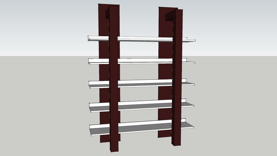 open style wooden bookshelf