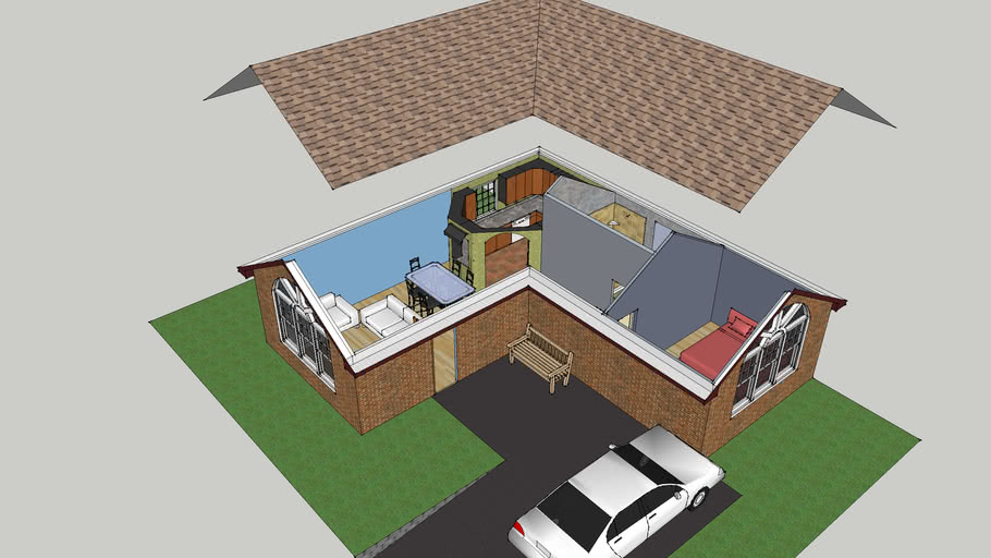 One Bedroom Small Brick House With Full Interior And Exterior 3d Warehouse
