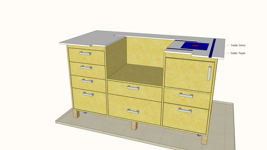 Workbench for DW745 with 8 drawers
