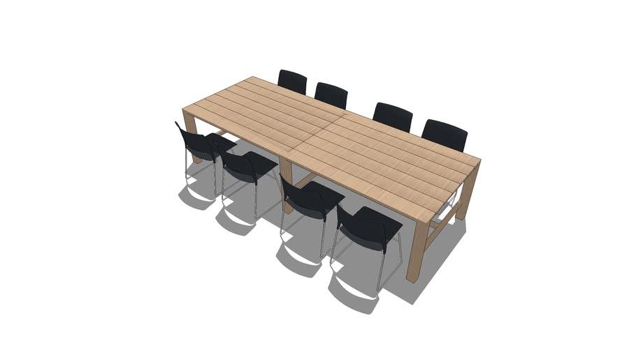 Cafe Table Scenario - Rectangular Table Seating 8