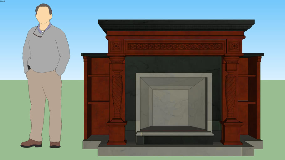 Cherry Wood Fireplace with Bookcase