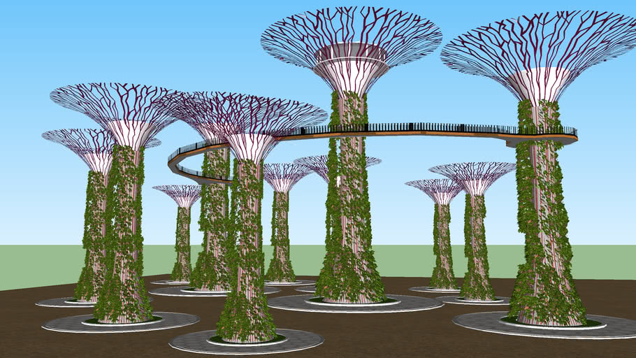 Garden by The Bay 'Supertrees' | 3D Warehouse on rain barrels, rain gutter downspout design, rain gardens 101, rain harvesting system design, french drain design, dry well design, gasification design, rain illustration, rain construction, rain water design, bioswale design, rain art drawings, rain roses,