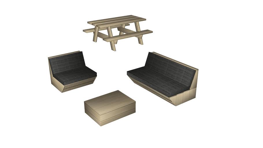 salon de jardin bois / wooden sofa set