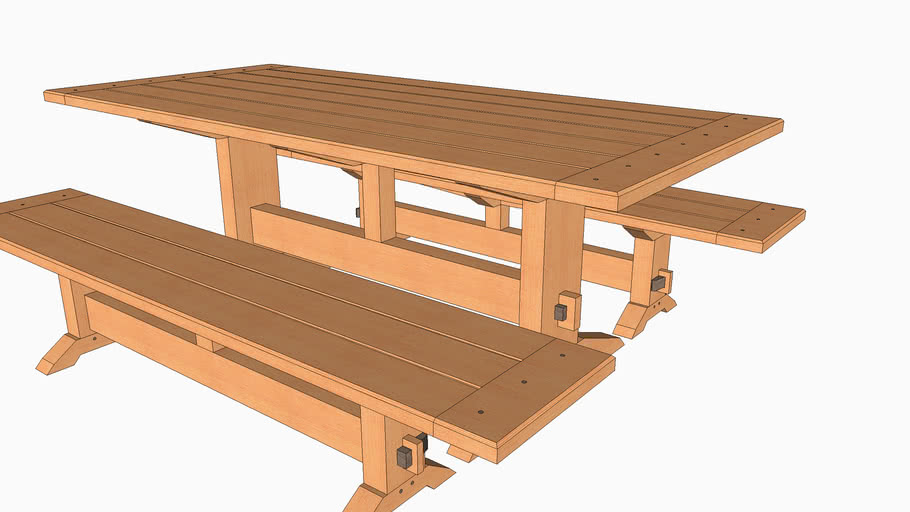 Outdoor Trestle Table One 3d Warehouse, Outdoor Trestle Table