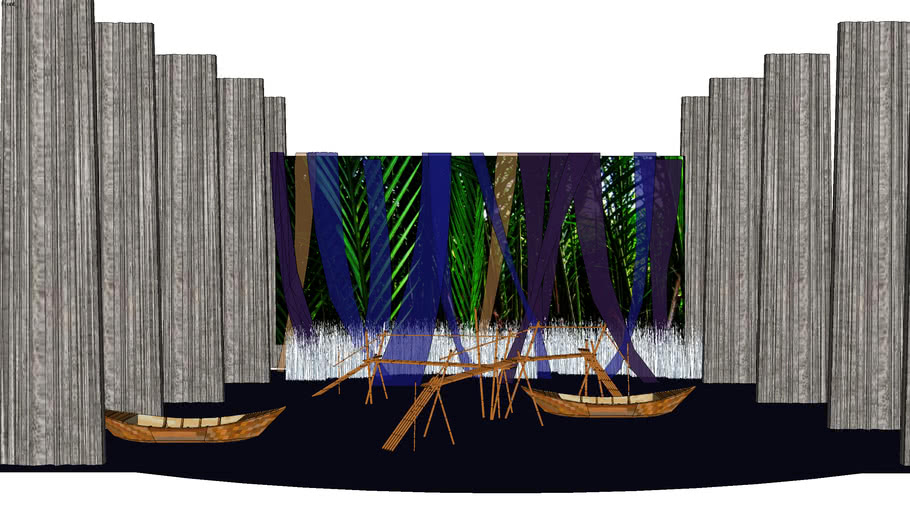 bamboo bridge in stage