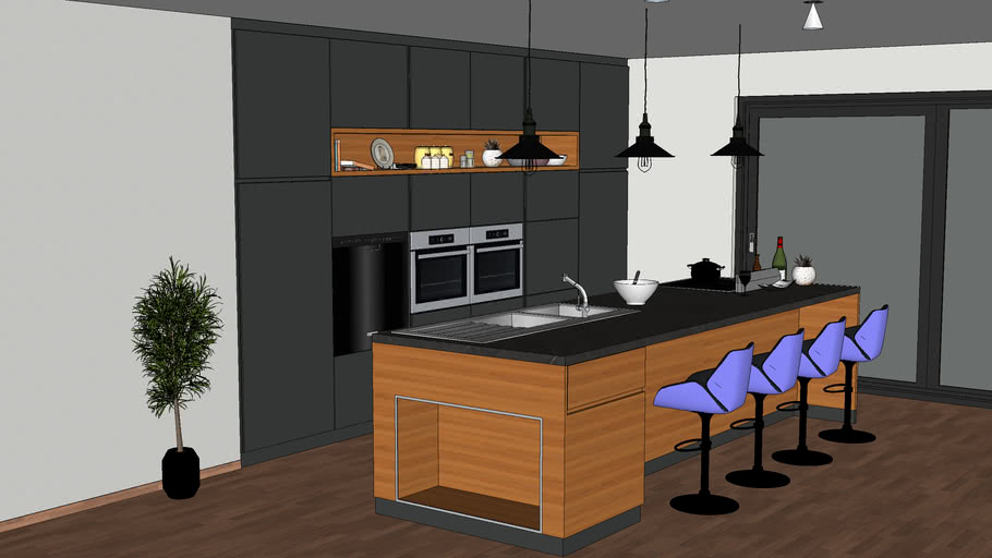 modern kitchen 3d model | 3D Warehouse on Modern Model Kitchen  id=42829