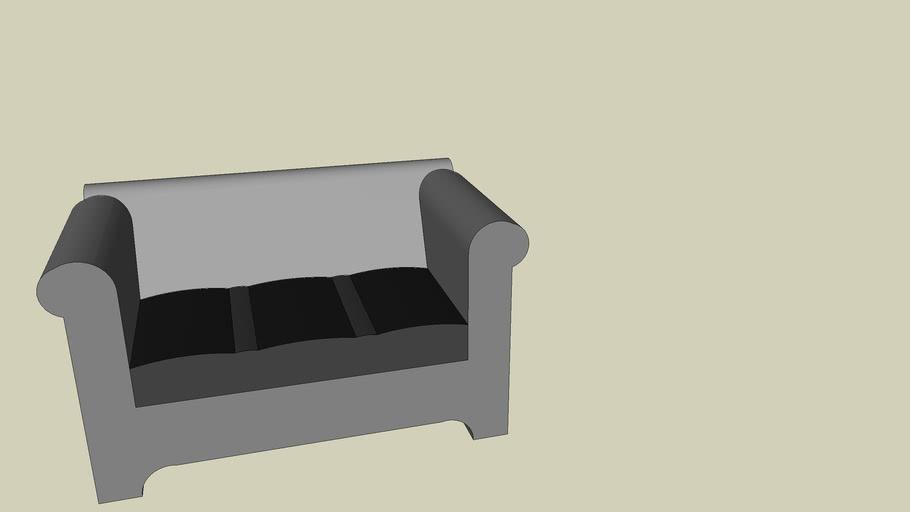 Dark Black Leather Couch