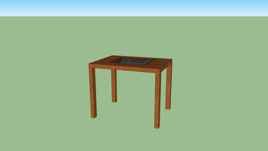 Wooden Coffee table with glass middle