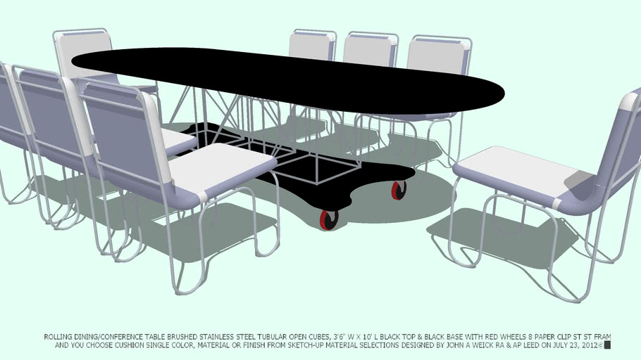 TABLE & 8 CHAIRS YOU CHOOSE CUSHIONS COLOR BY JOHN A WEICK RA