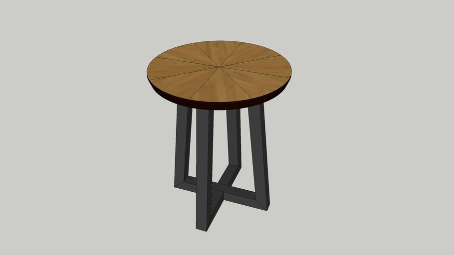 Mesa apoio redonda Nice tampo espinhado carvalho mel lacado negro