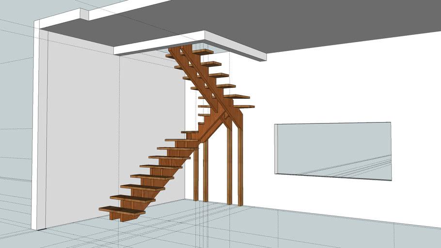 escada de madeira em u