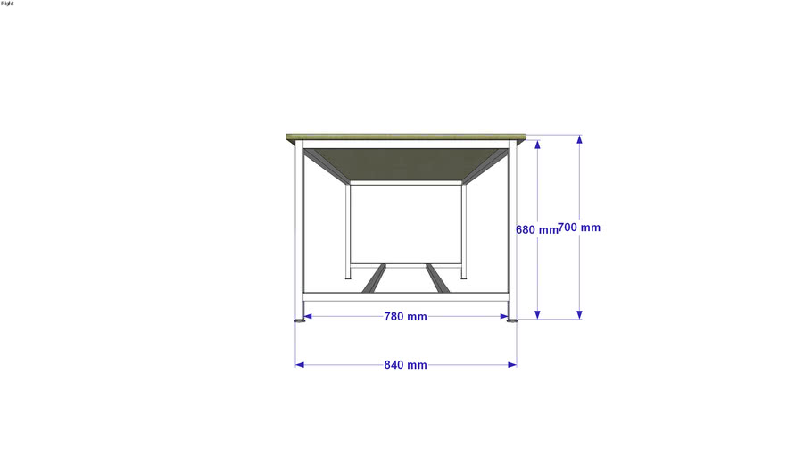 table 2400x800x750mm