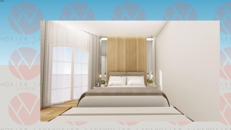 Cabeceira madeira e espelho com cama e recamier