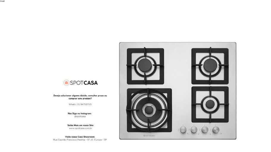 Cooktop Quadratto 60 cm Bivolt Elettromec