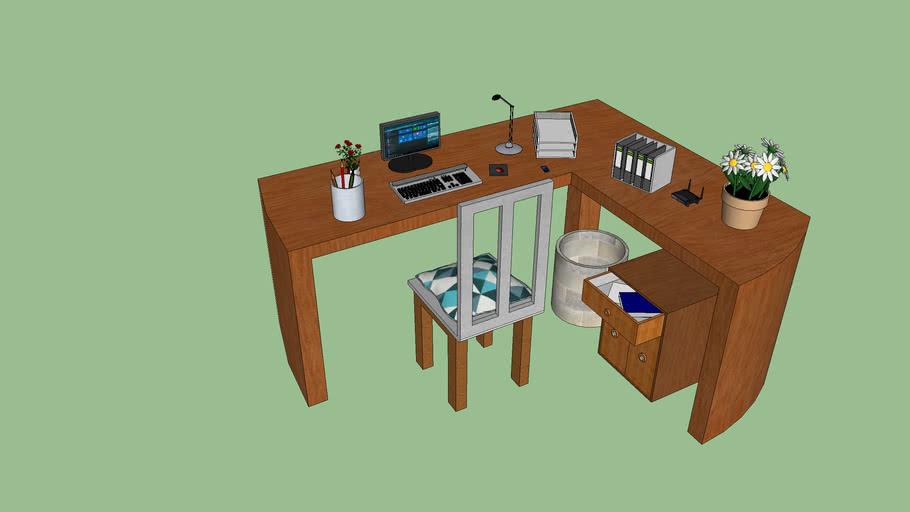 Schreibtisch mit ausstattung