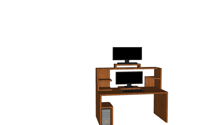 Simple pc table with pc and tv