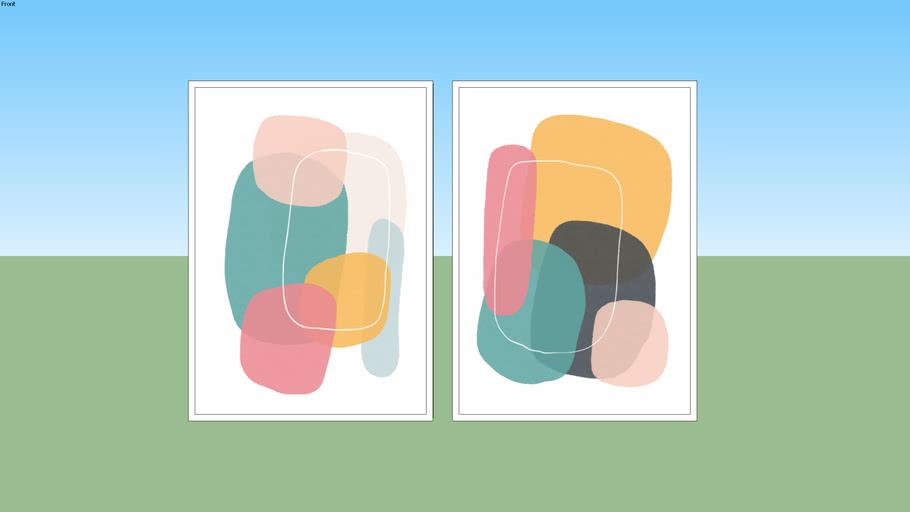 Conjunto de Quadros Balance Minimal Colors 01 e Balance Minimal Colors 02 - Rachel Moya