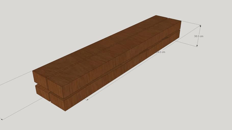 wood-metal bench