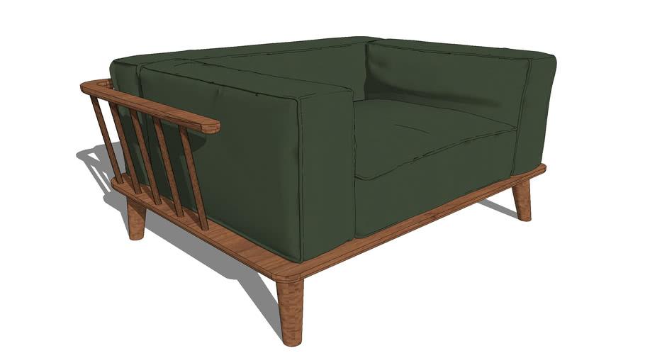 Comfortable wooden armchair
