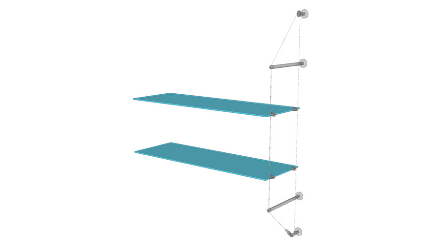 Cable Wall Unit - 2 Glass Shelves - Add-on