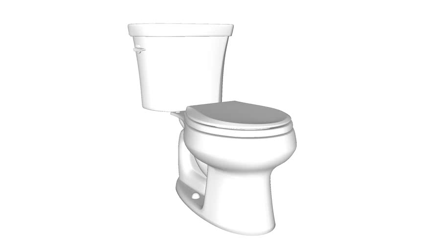 K-3987 Wellworth(R) two-piece round-front dual-flush toilet with Class Five(R) flush technology and left-hand trip lever, seat not included