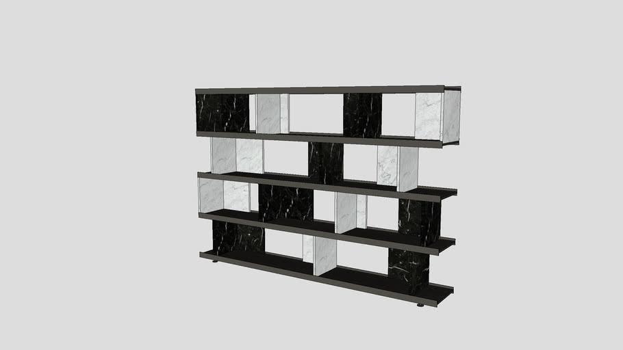 Bookcase in Bianco Carrara and Nero Marquinia marble   Salvatori    Colonnata 240x36xH165cm