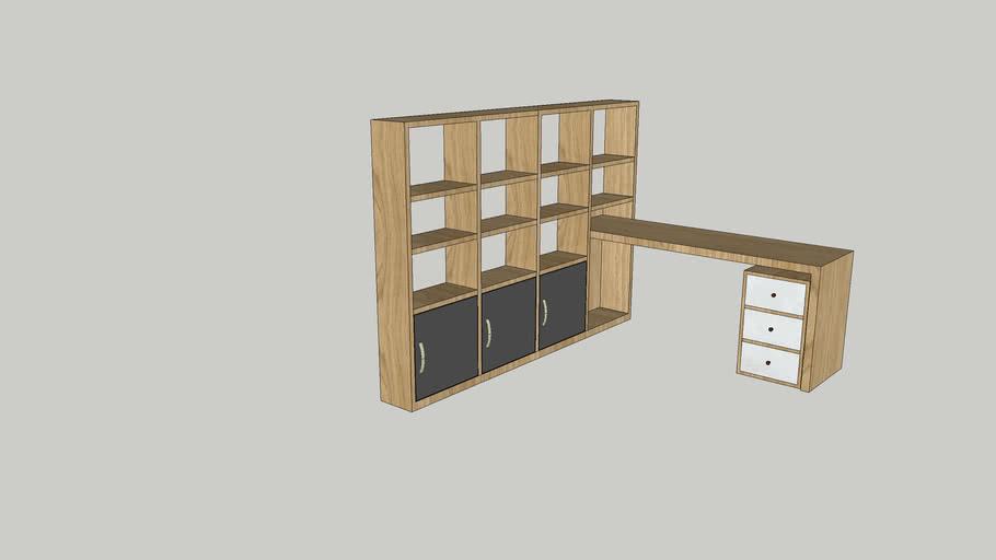 half bookshelves & table