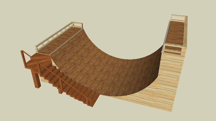 Half pipe w. extended end and stairs