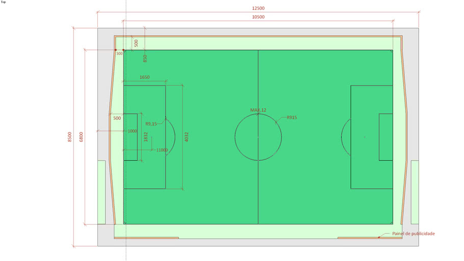 Official size soccer pitch with dimensions