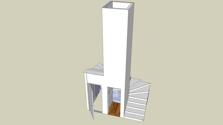 spiral staircase around elevator shaft