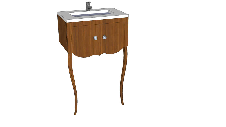 Curved Traditional Vanity Leg Cabinet