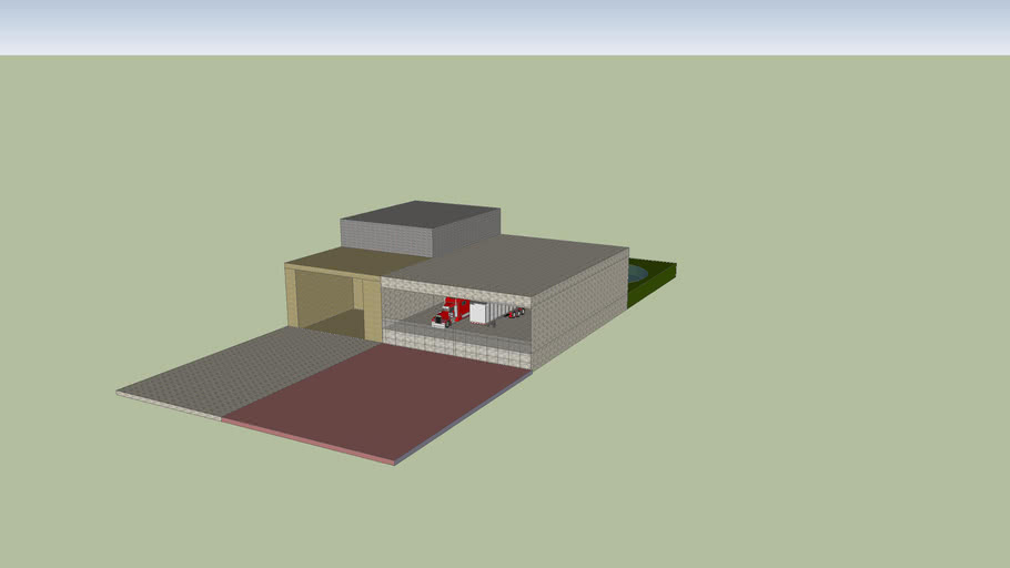 Modern house with truck and container