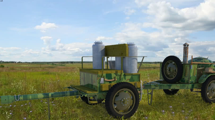 RED ARMY -  Soviet WW2  Mobile kitchen -- FIELD KITCHEN    TYPE  PK-42  &  52R-353 CARRIAGE - Camouflaged