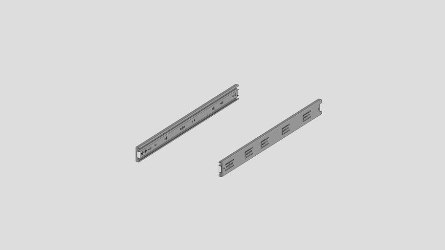 FL-COU24-100LBS : 24'' pair drawer slides steel zn