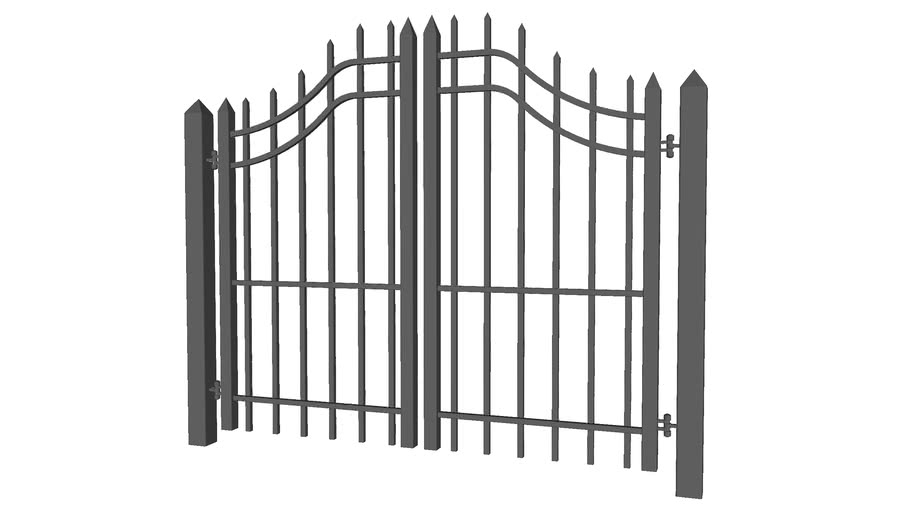 Arched Security Fence Gate for Pedestrians - Detailed