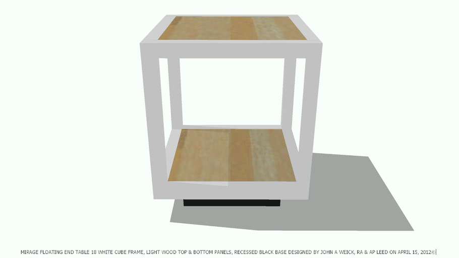 TABLE END MIRAGE WHITE FRAME LIGHT WOOD PANELS BY JOHN A WEICK RA