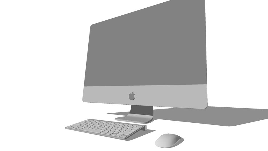 iMac, Apple, Mac, 27 inch, magic mouse and Wireless Keyboard (silhouette. outline)