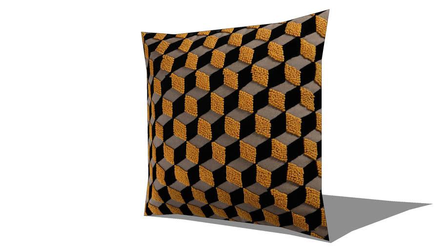 Coussin en coton jaune/noir 45 x 45 cm CUBARO REF 156543 PRIX 49.99€