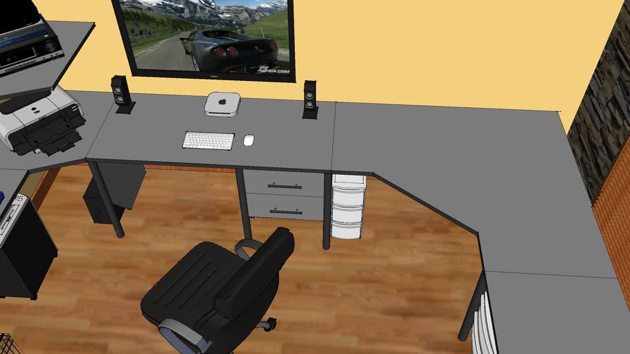 Computer Room With Custom Built Desk, Custom Built Desk