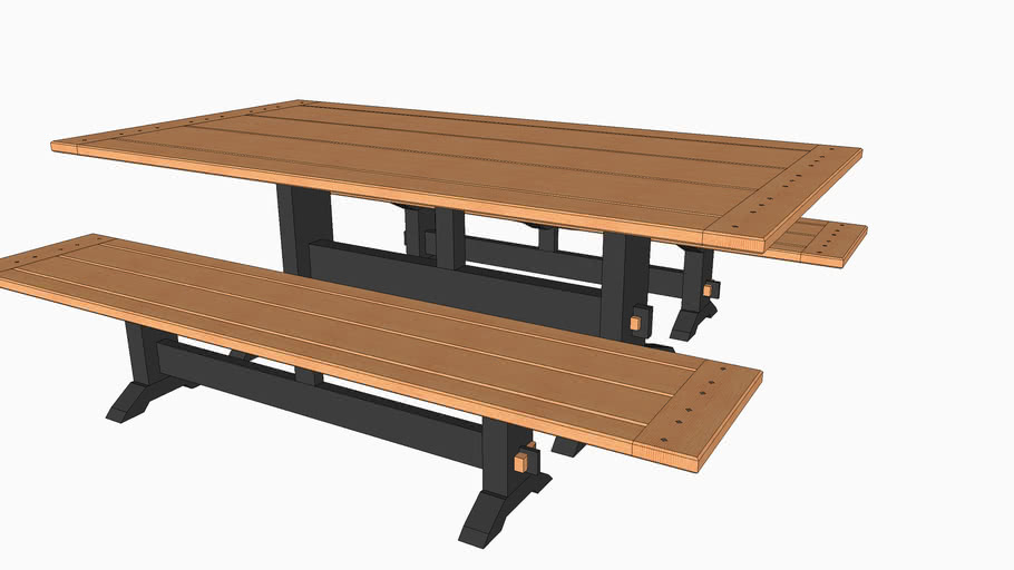 Outdoor Trestle Table Two 3d Warehouse, Outdoor Trestle Table