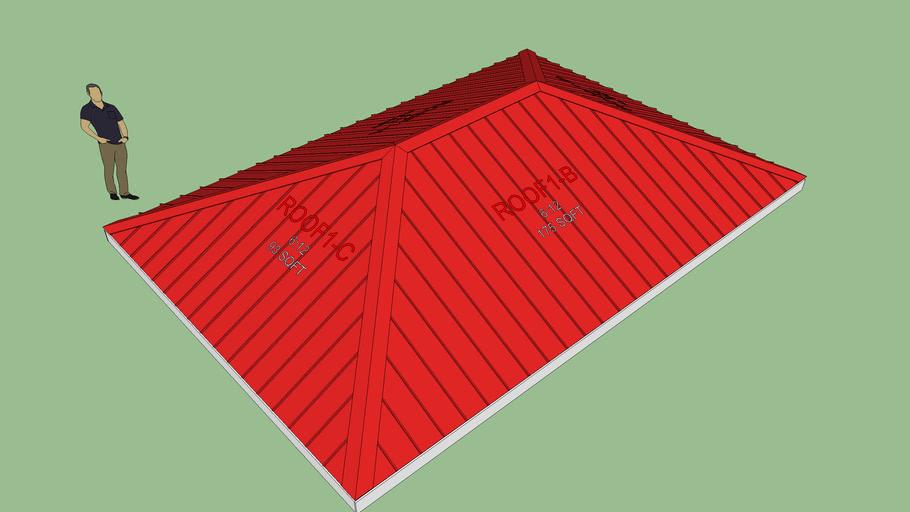 Metal Hip Rafter Roof (3D)