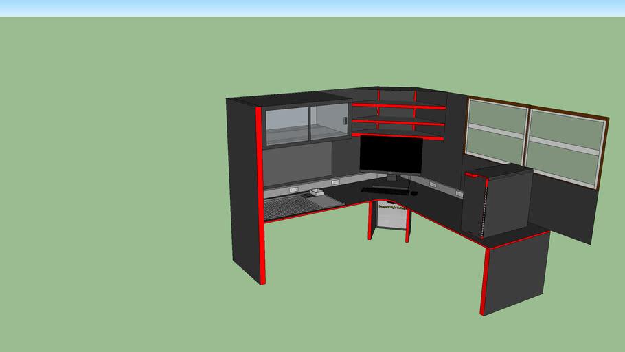 Custom L-Desk Red/Black