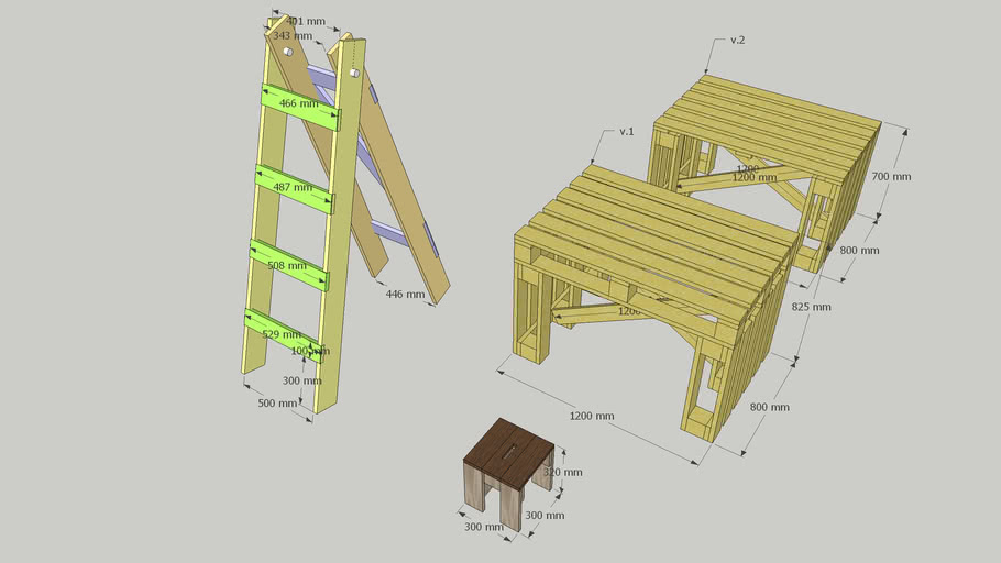 Stairs. Table. Stool