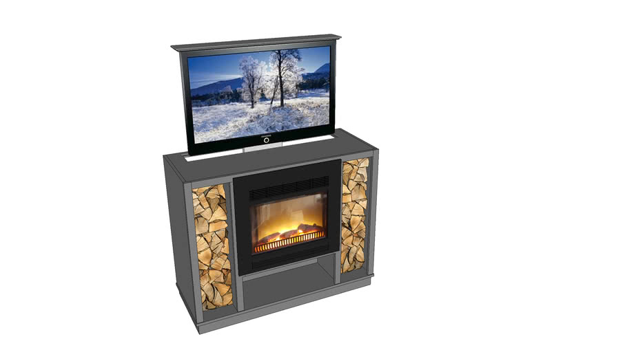 Cabinet With Electric Fireplace And Tv Lift 3d Warehouse