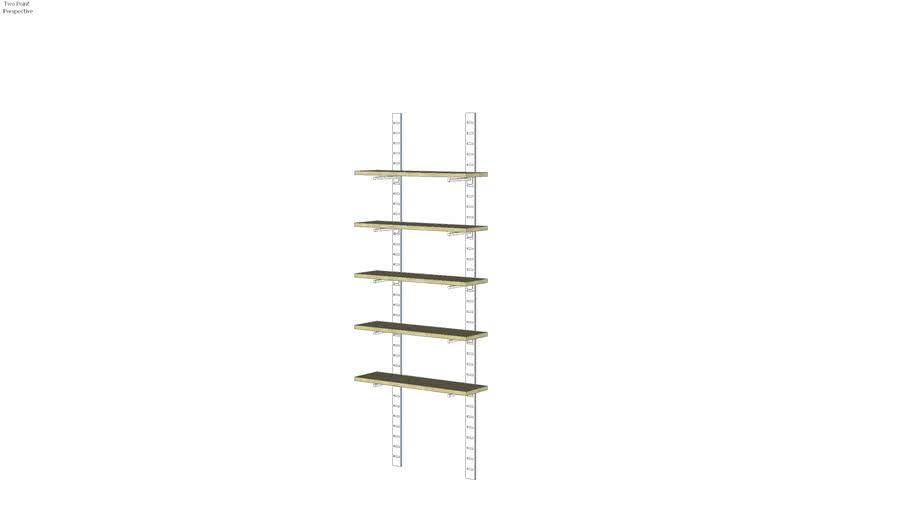 """96"""" SlatStrip Unit - wood glass - W/ 6""""/1""""/14"""" Brackets"""