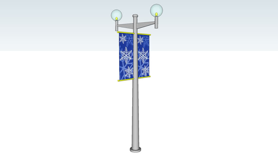 LAMP POST GLOBES WITH BANNERS - High Poly