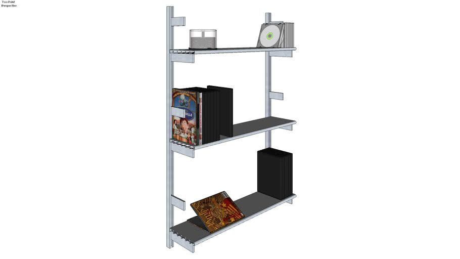 ISS Designs Modular Shelving - Wall Mounted System With Aluminum Shelves (W-01-SS3-06-1ALU)